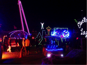 Figure 2: The Man effigy (2010) surrounded by art cars.  Photograph by author.